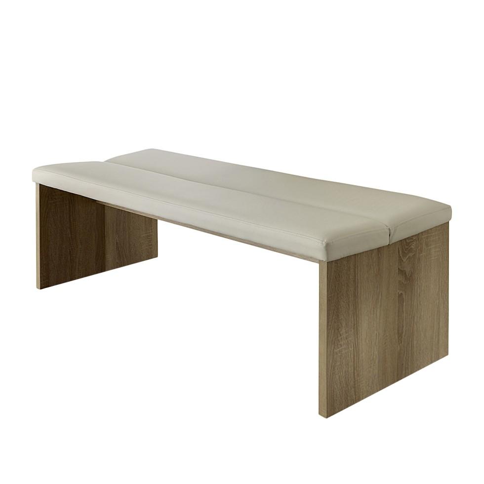 Sitzbank Sentiagamo – Eiche Sägerau Dekor/Beige – Spanplatte/Kunstleder – 001 – Breite: 140 cm, Tollhaus günstig