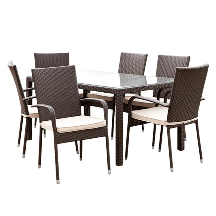 Sitzgruppe Alicante (7-teilig) - Polyrattan Braun, Merxx