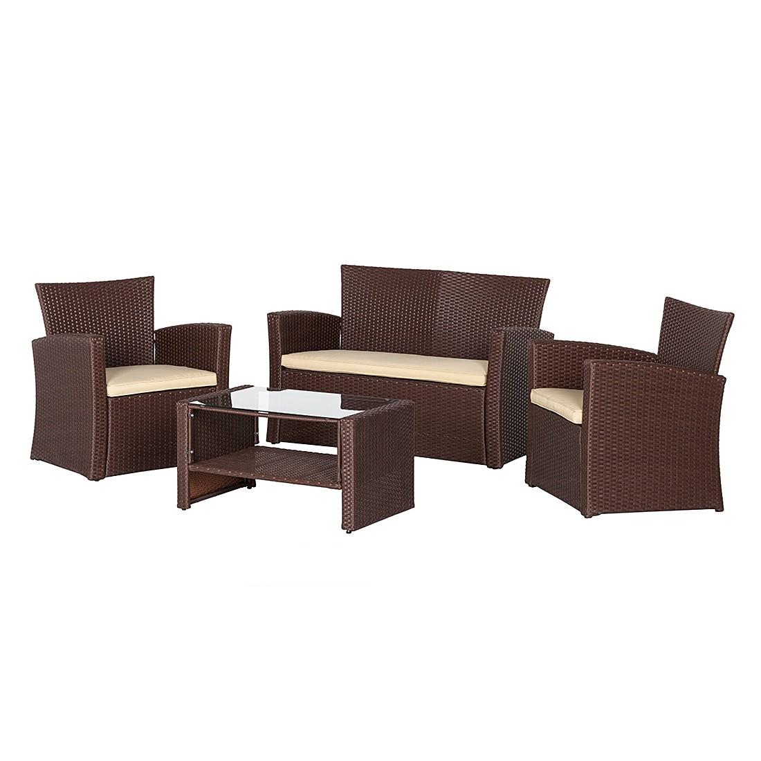 sitzgruppe brindisi 4 teilig polyrattan braun kings. Black Bedroom Furniture Sets. Home Design Ideas