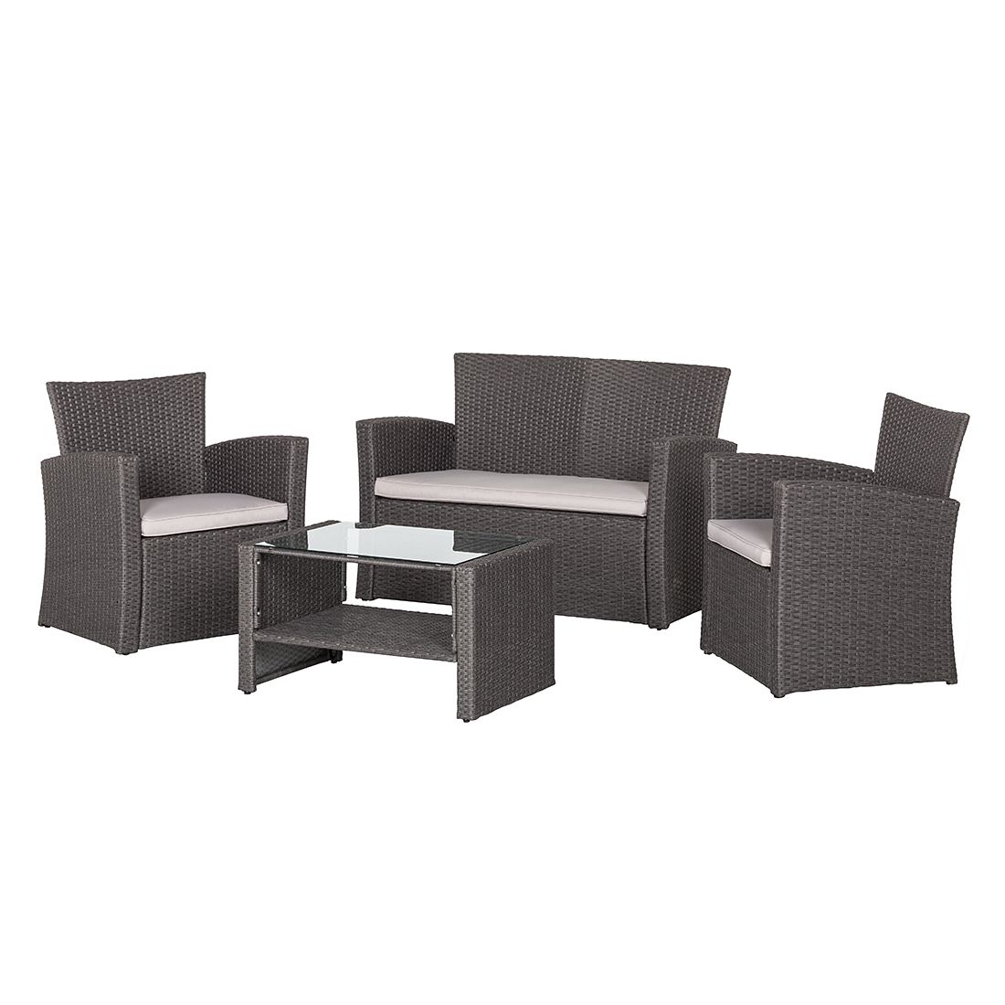 sitzgruppe brindisi 4 teilig polyrattan dunkelgrau. Black Bedroom Furniture Sets. Home Design Ideas