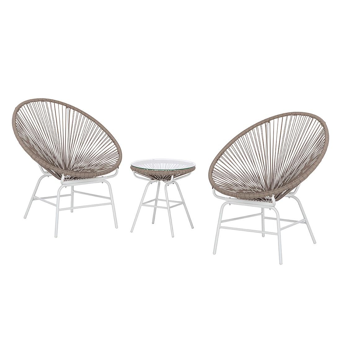 Sitzgruppe Copacabana II (3-teilig) - Kunststoff - Khaki / Weiß, Garden Guerilla