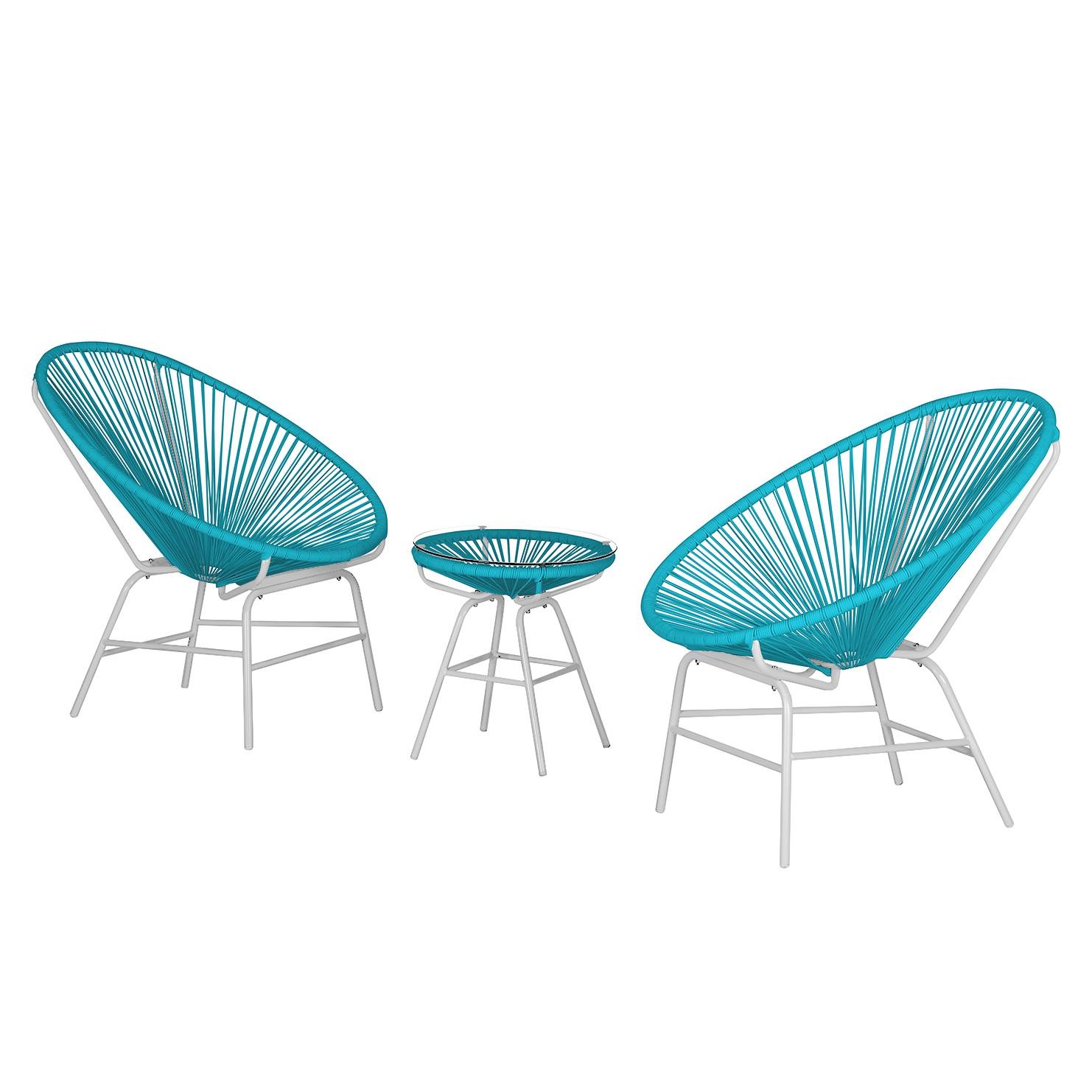Sitzgruppe Copacabana IV (3-teilig) - Kunststoff / Metall - Türkis / Weiß, Garden Guerilla