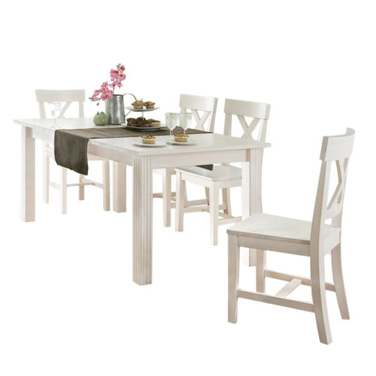 Sitzgruppe Lyngby - Kiefer massiv - Weiß - Esstisch mit Ansteckplatte & 4 Stühle, Steens