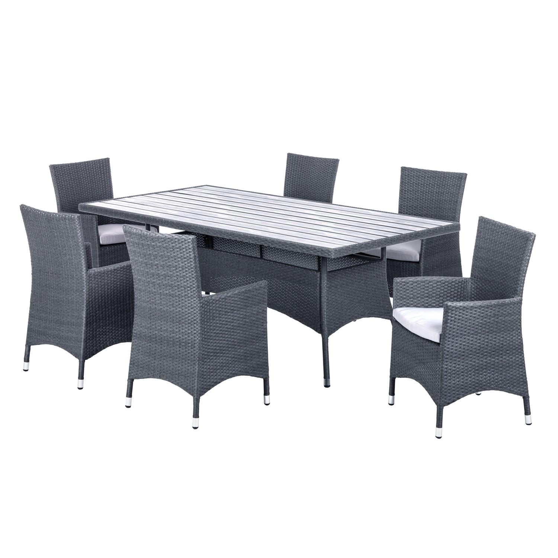Sitzgruppe Paradise Lounge I (7-teilig) - Polyrattan Grau, Kings Garden
