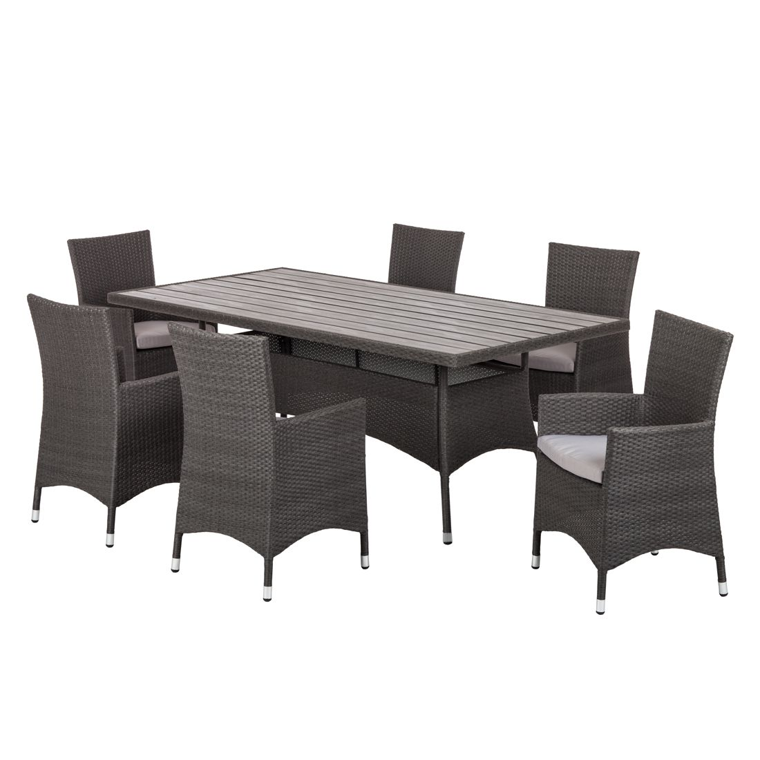 sitzgruppe paradise lounge i 7 teilig polyrattan grau. Black Bedroom Furniture Sets. Home Design Ideas