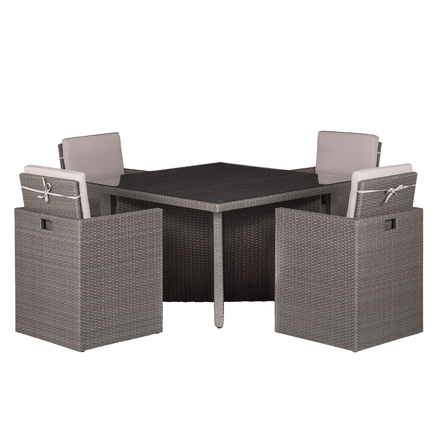 Sitzgruppe Paradise Lounge III (5-teilig) - Polyrattan / Webstoff - Grau / Beige, Kings Garden