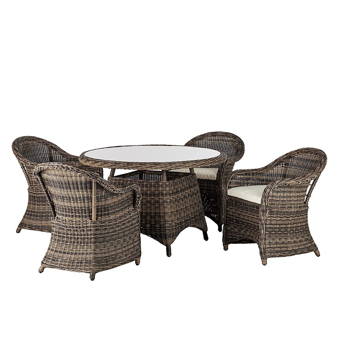 sitzgruppe royal comfort 5 teilig polyrattan braun. Black Bedroom Furniture Sets. Home Design Ideas