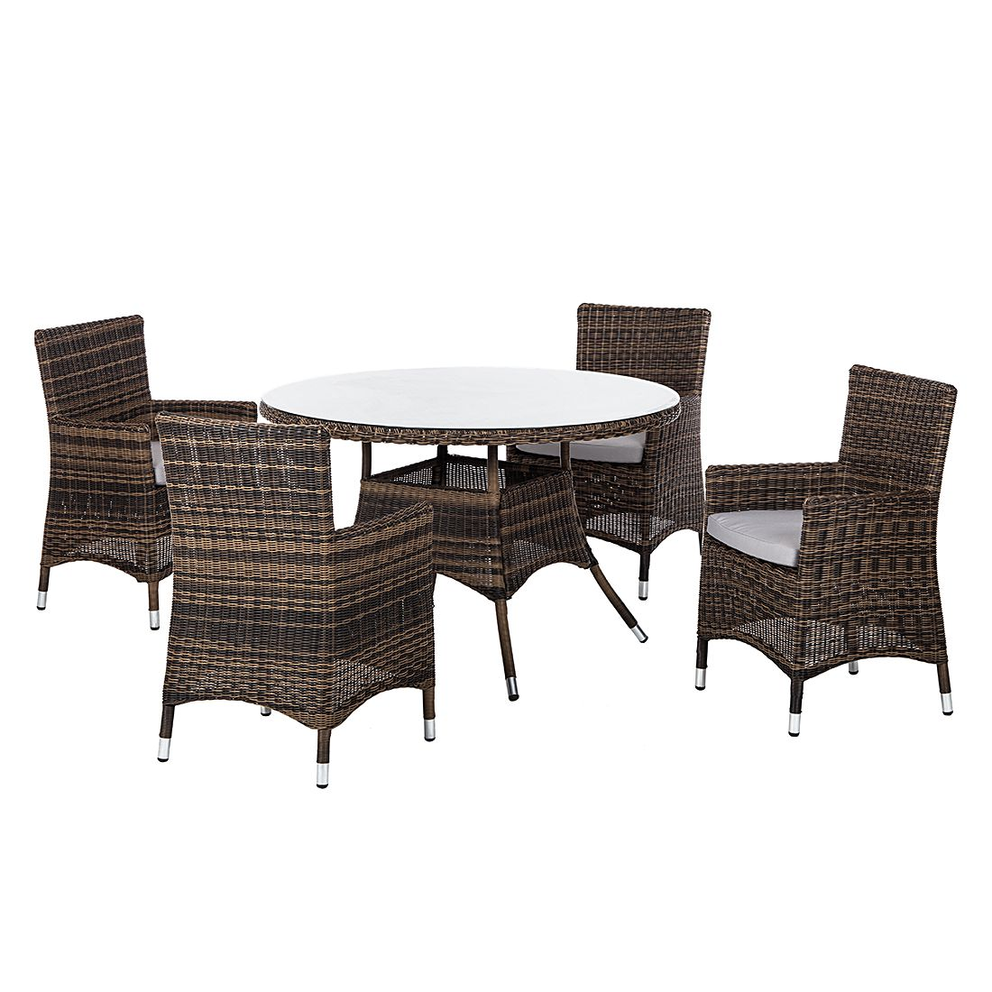 sitzgruppe sunremo 5 teilig polyrattan braun beige kings garden g nstig kaufen. Black Bedroom Furniture Sets. Home Design Ideas