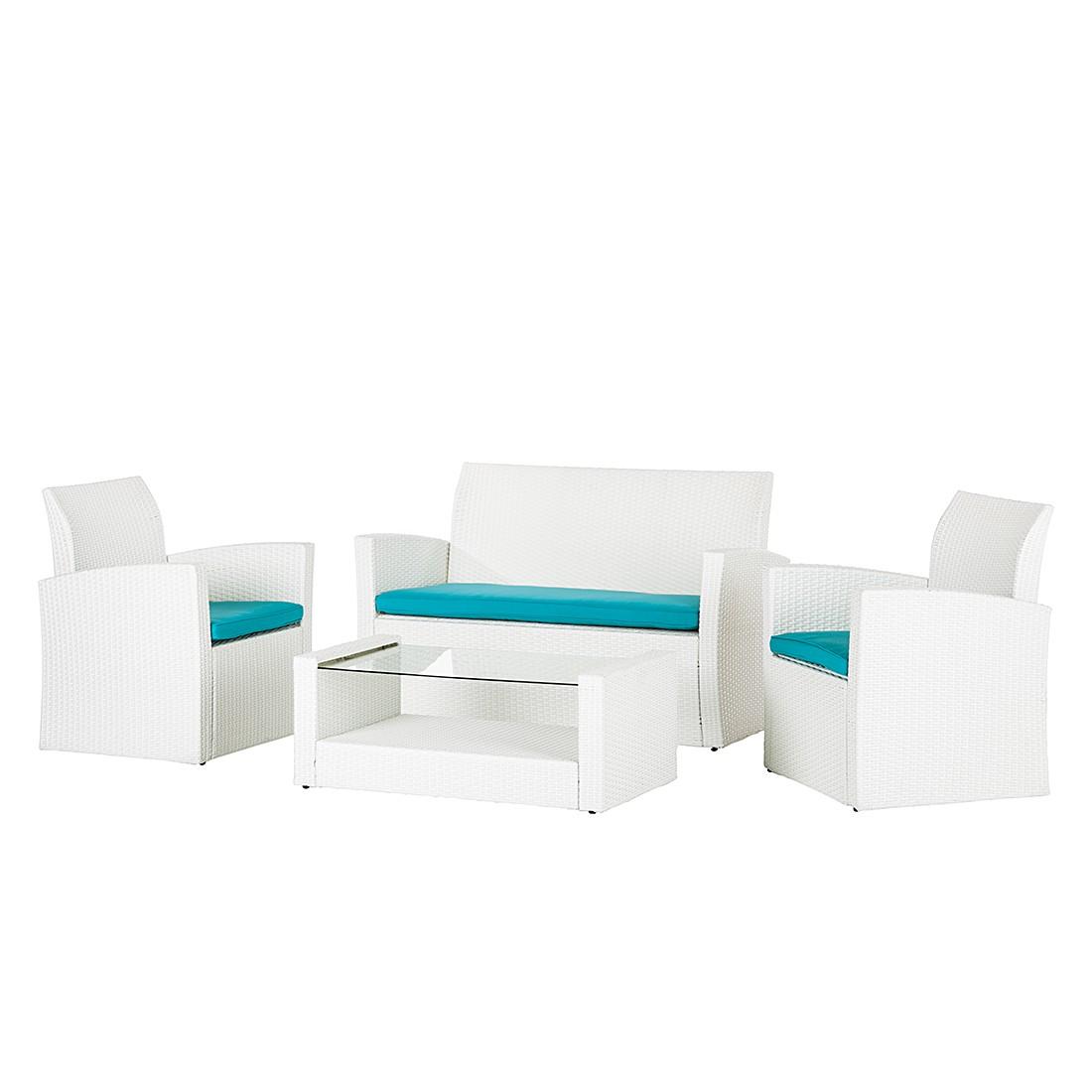 Lounge Gruppe White Cloud (4-teilig) - Polyrattan/Textil Weiß, Kings Garden