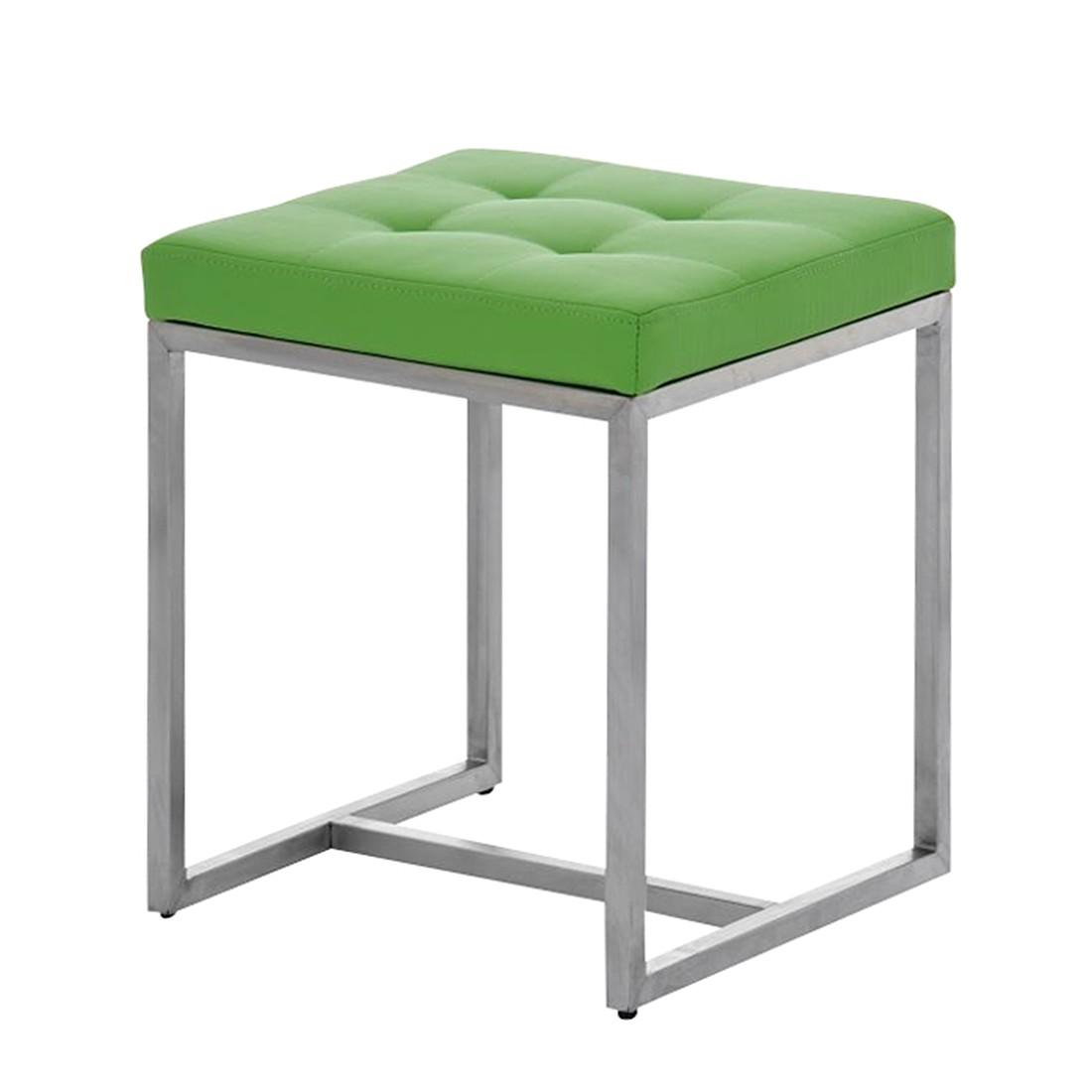 Sitzhocker Barci grün – Kunstleder/Edelstahl, CLP online bestellen