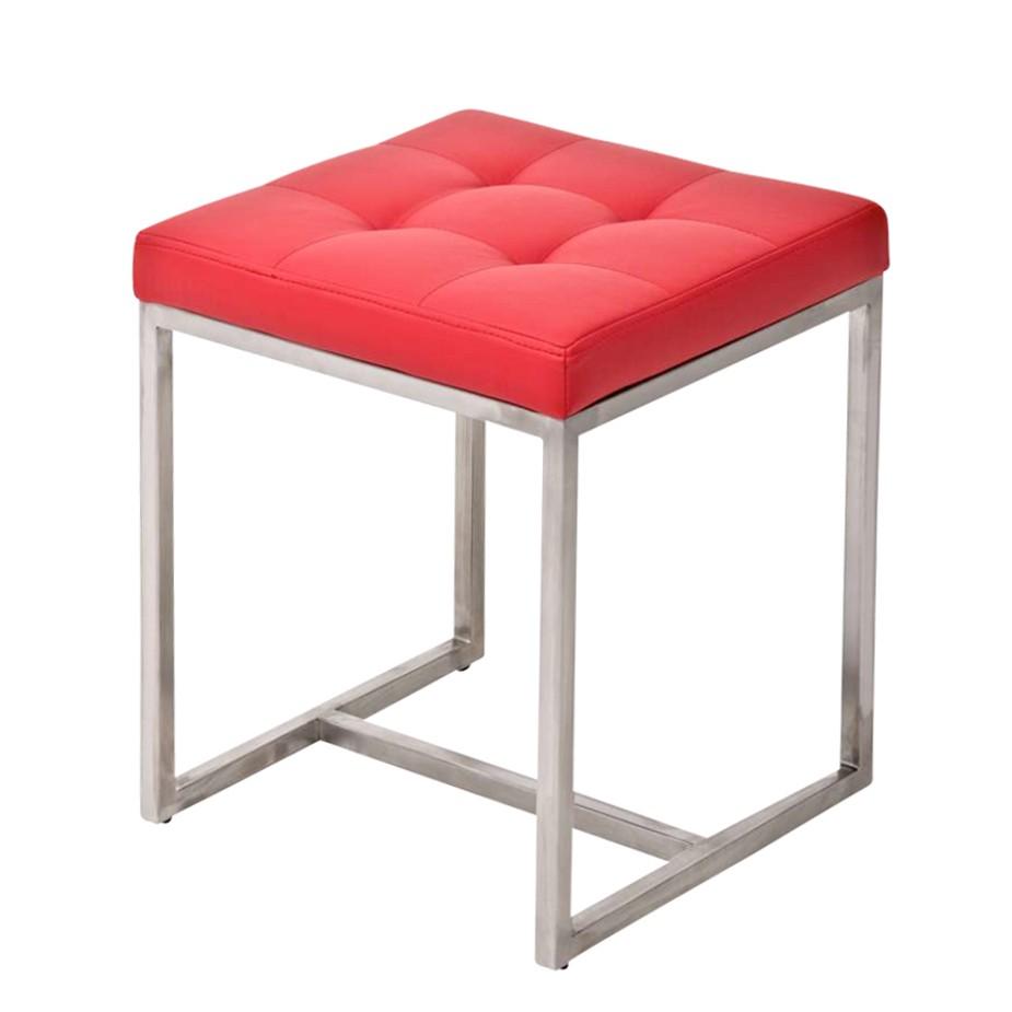 Sitzhocker Barci – Rot – Kunstleder/Edelstahl, CLP bestellen