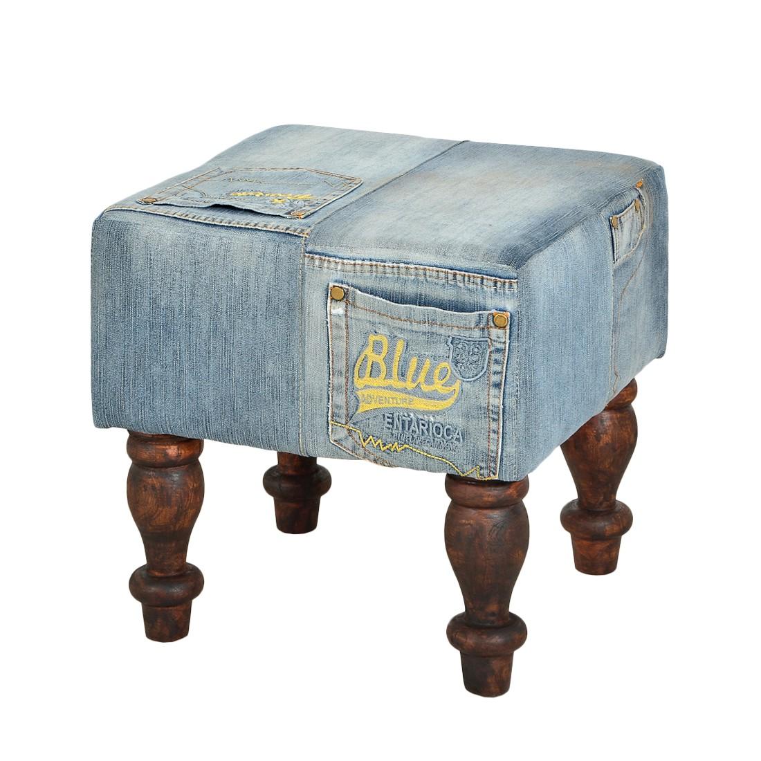Sitzhocker Creditana – Blau/Braun – Jeansstoff/Massivholz, furnlab jetzt bestellen