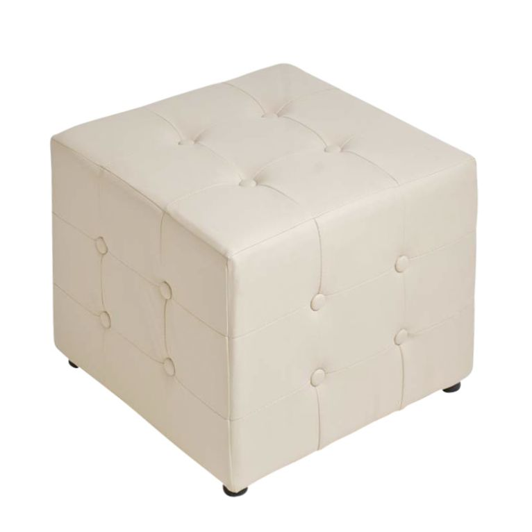 Sitzhocker Cubic – Creme – Kunstleder, CLP günstig