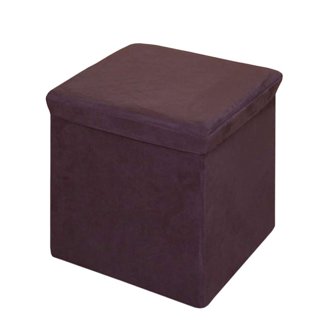Sitzhocker – mit Aufbewahrungsbox – Braun – Braun, Leder, Mendler jetzt kaufen