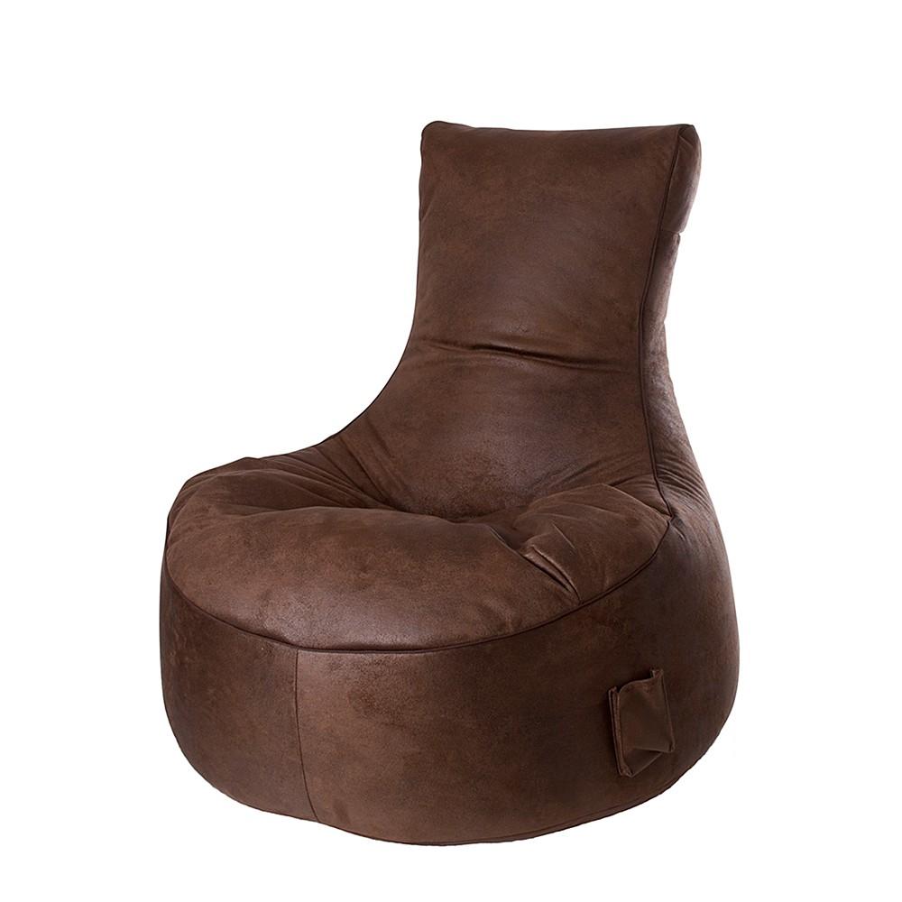 Sitzsack Browny – Braun – Velourlederoptik, Young Furn günstig kaufen