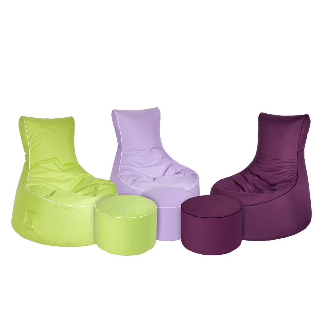 Sitzsack Jack – Outdoor geeignet – Diverse Farben – Hocker optional – Farbe: Grün Ausführung: mit Fußhocker, Young Furn online bestellen