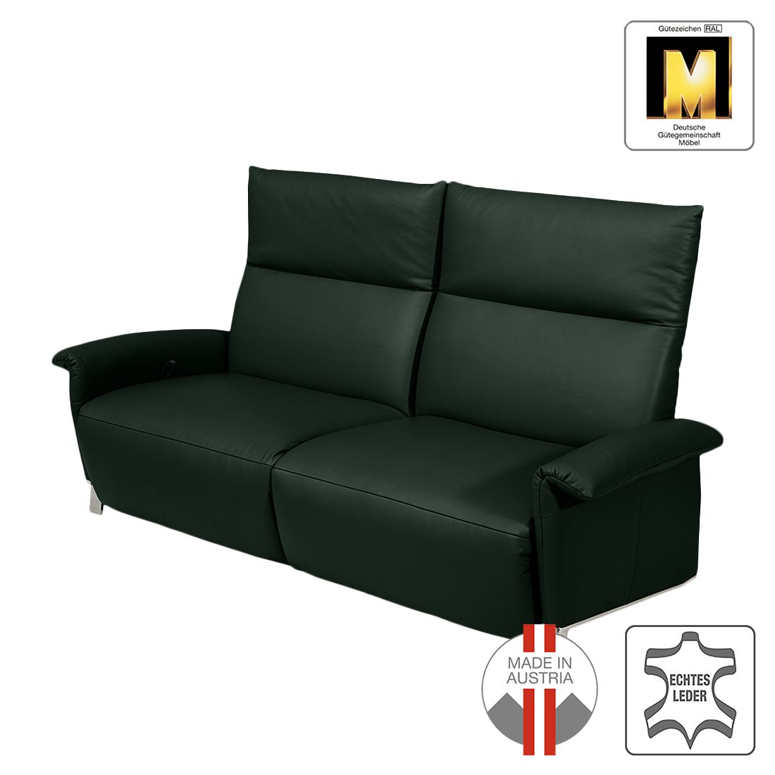 reclinersofa barcelona 2 sitzer echtleder grau ada premium g nstig online kaufen. Black Bedroom Furniture Sets. Home Design Ideas