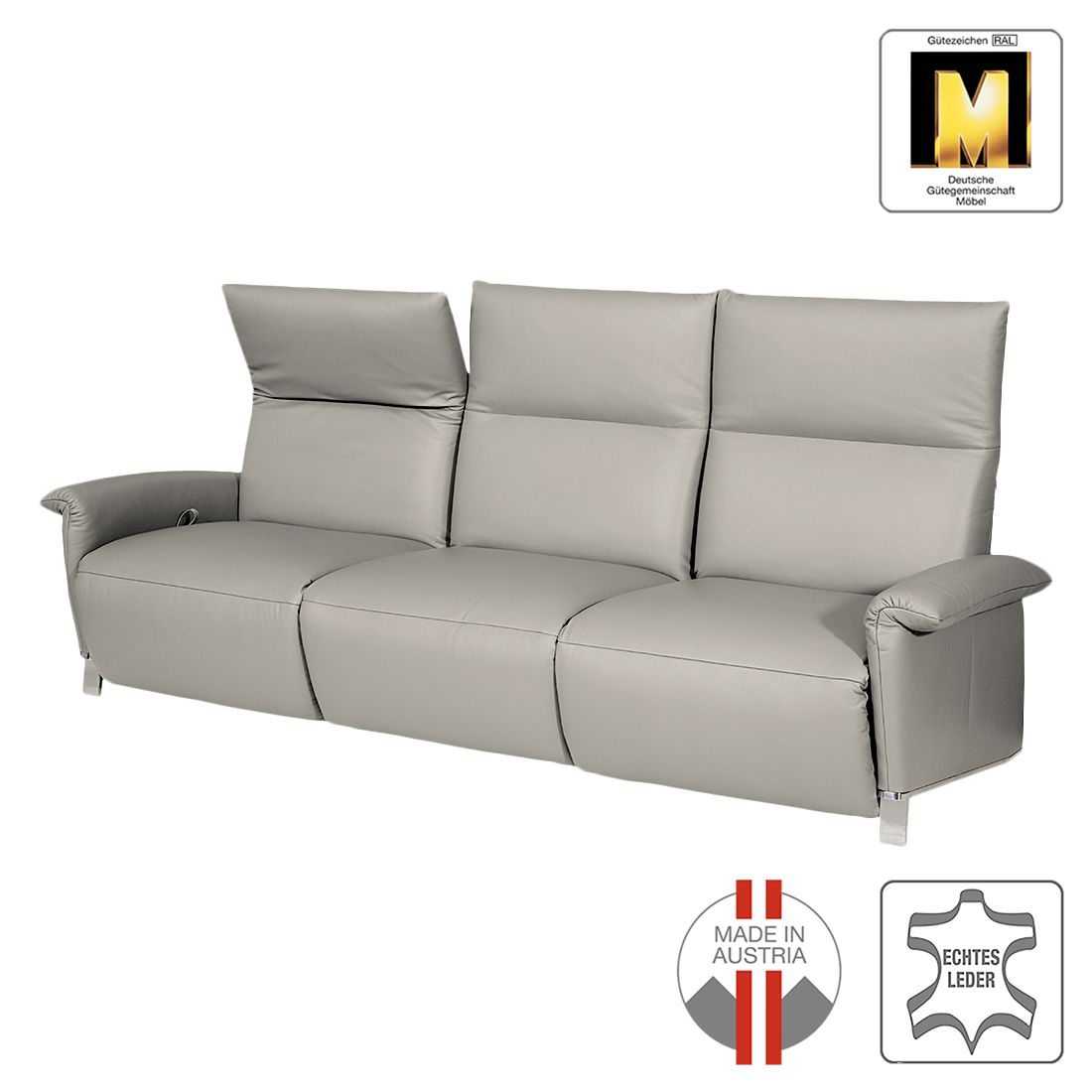sofa barcelona 3 sitzer echtleder keine funktion steingrau ada premium g nstig kaufen. Black Bedroom Furniture Sets. Home Design Ideas