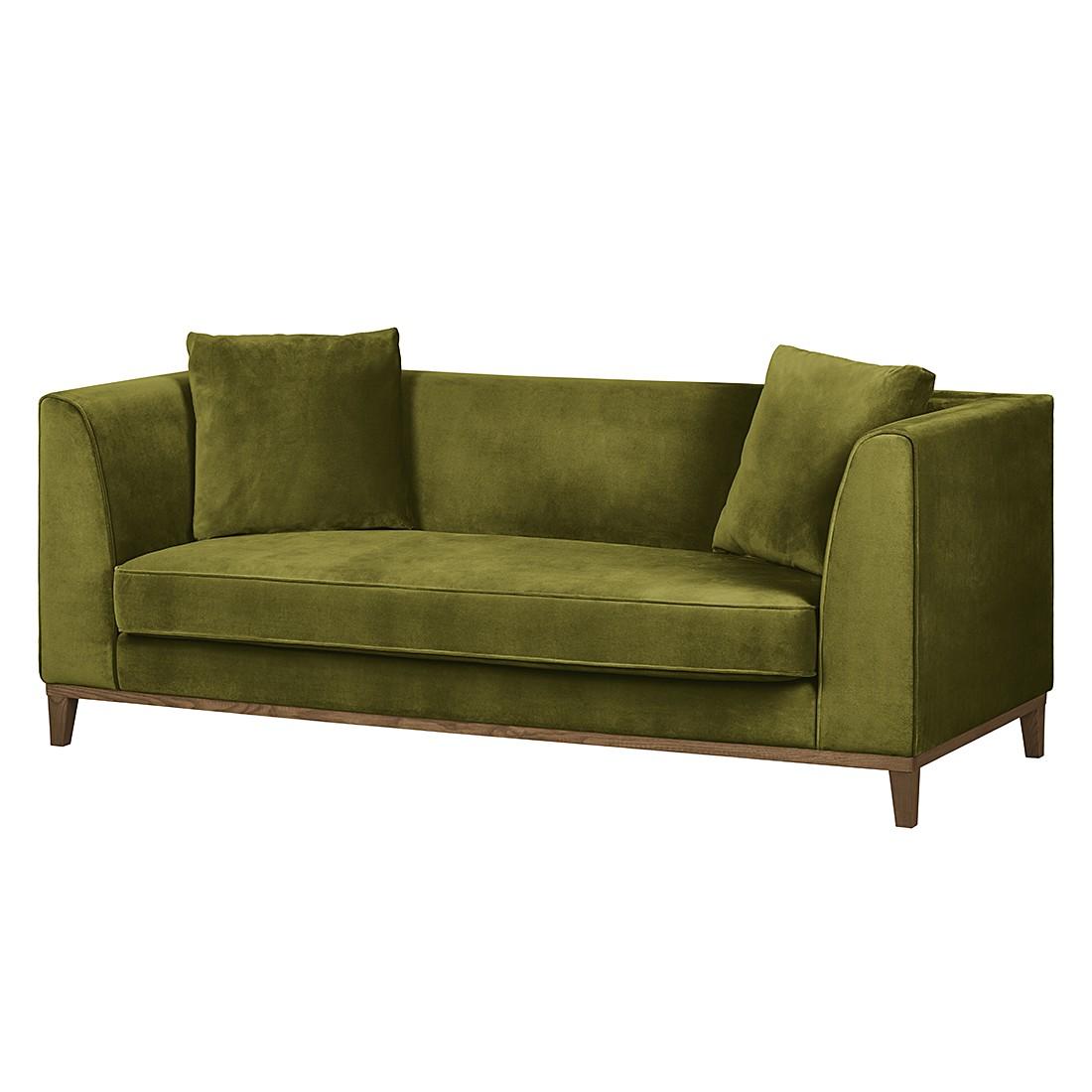 Sofa Blomma (3-Sitzer) – Samtstoff Olivgrün – Gestell: Eichefarbig, Mørteens kaufen