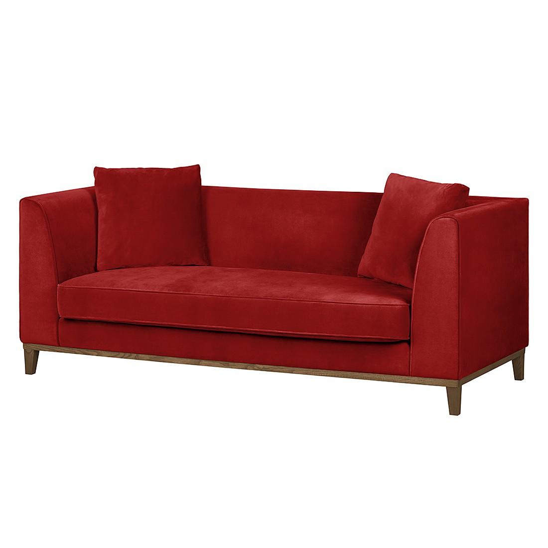 Sofa Blomma (3-Sitzer) – Samtstoff Rot – Gestell: Eichefarbig, Mørteens online bestellen