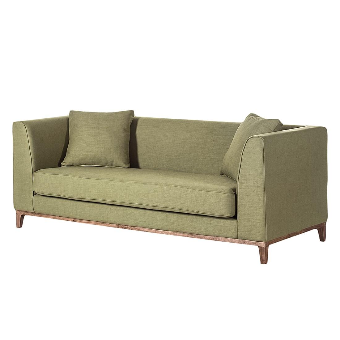 Sofa Blomma (3-Sitzer) – Webstoff Olivgrün – Gestell: Nussbaumfarbig, Mørteens günstig