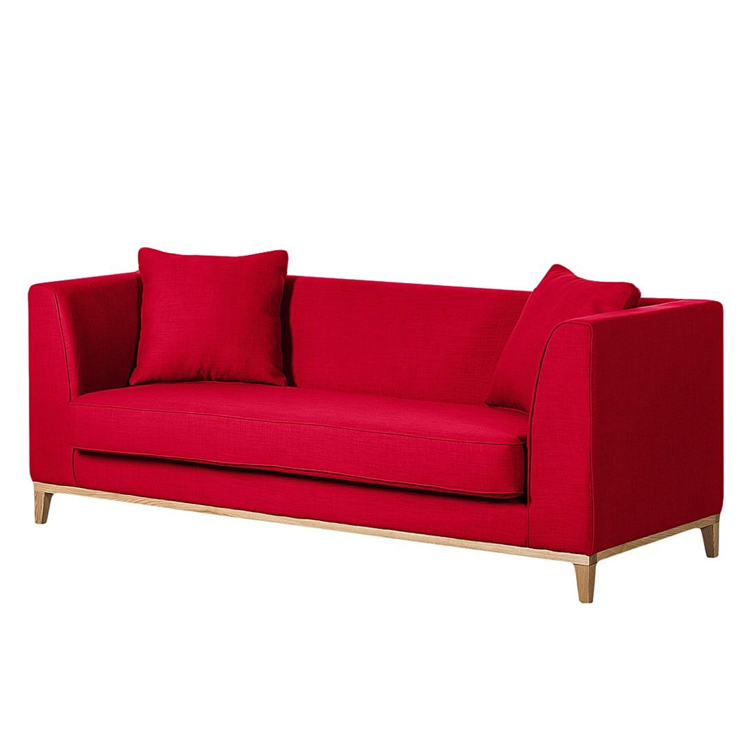 Sofa Blomma (3-Sitzer) – Webstoff Rot – Gestell: Eichefarbig, Mørteens kaufen