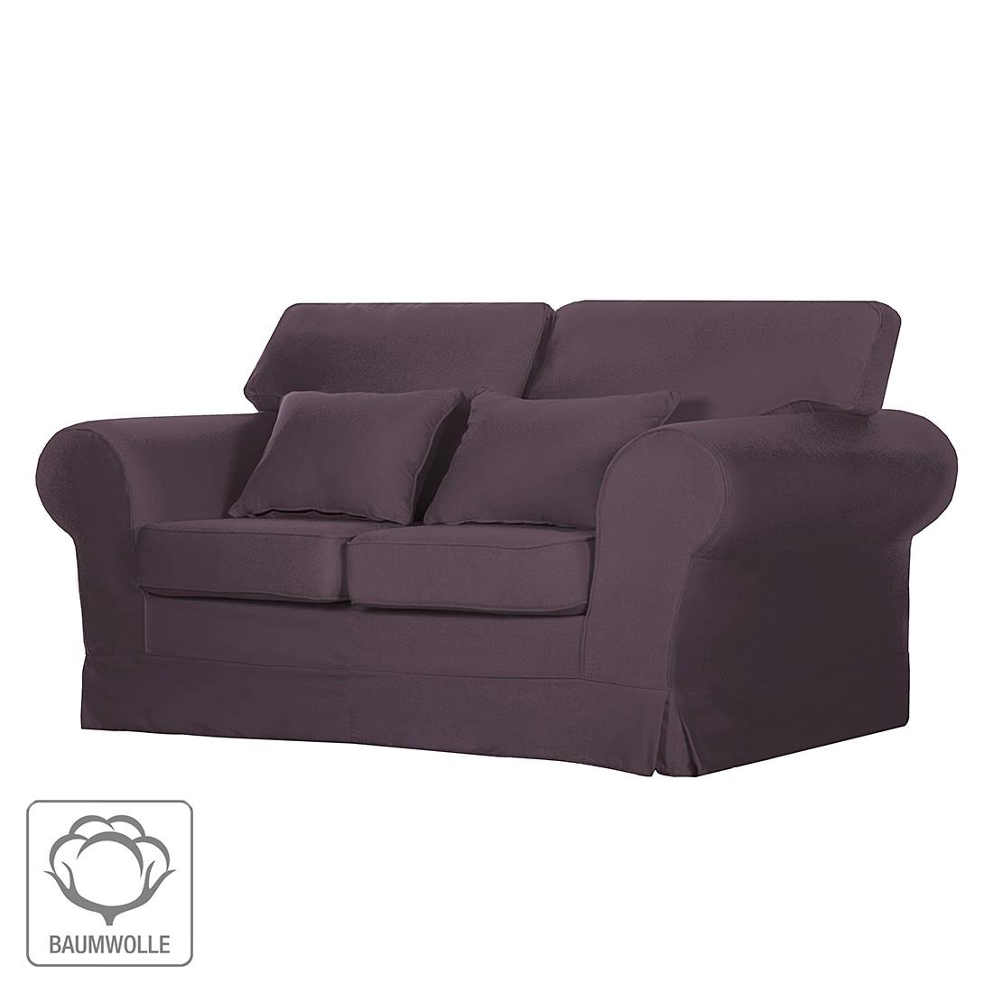Sofa Bradford (2-Sitzer) – Baumwollstoff Aubergine, Maison Belfort günstig kaufen