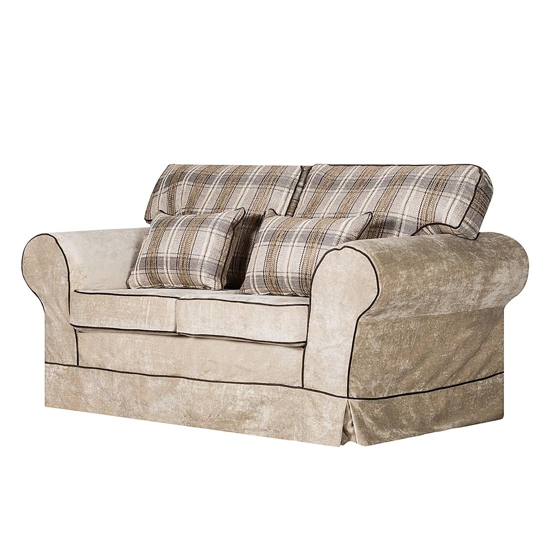 Sofa Bradford (2-Sitzer) – Samtstoff Beige – Karomuster, Maison Belfort bestellen