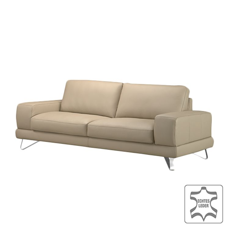 sofa bradley 2 5 sitzer echtleder beige mit 1 kopfst tze loftscape online bestellen. Black Bedroom Furniture Sets. Home Design Ideas