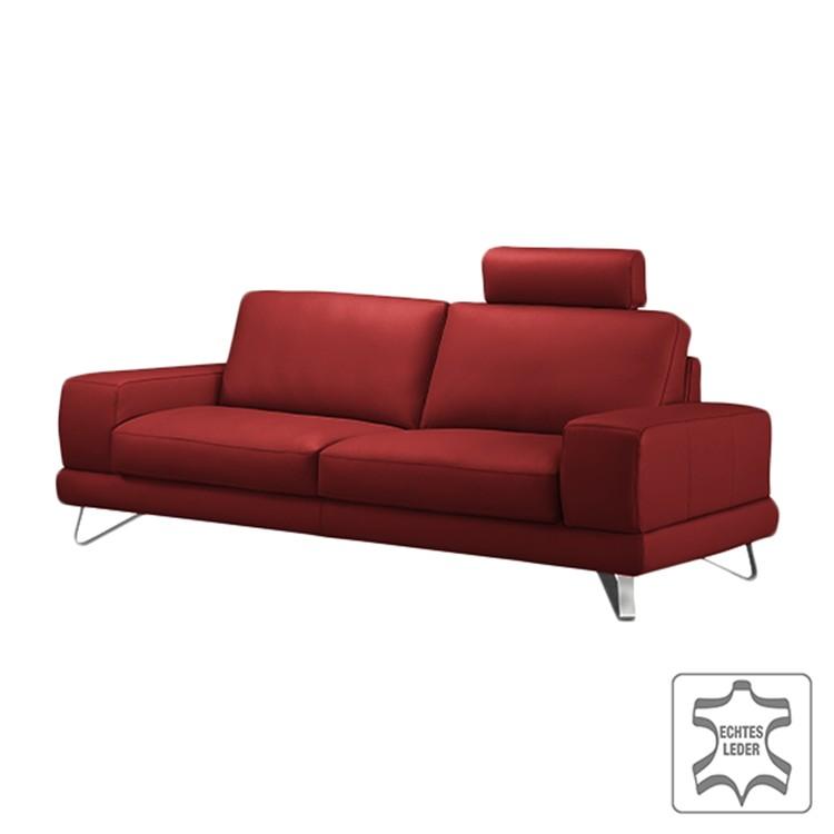 Sofa Bradley (3-Sitzer) - Echtleder Kaminrot - Mit 1 Kopfstütze, loftscape