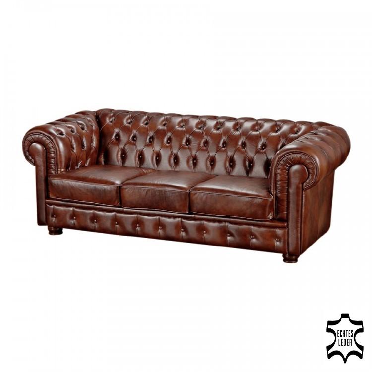 Sofa Brighton (3-Sitzer) - Echtleder Braun, Max Winzer