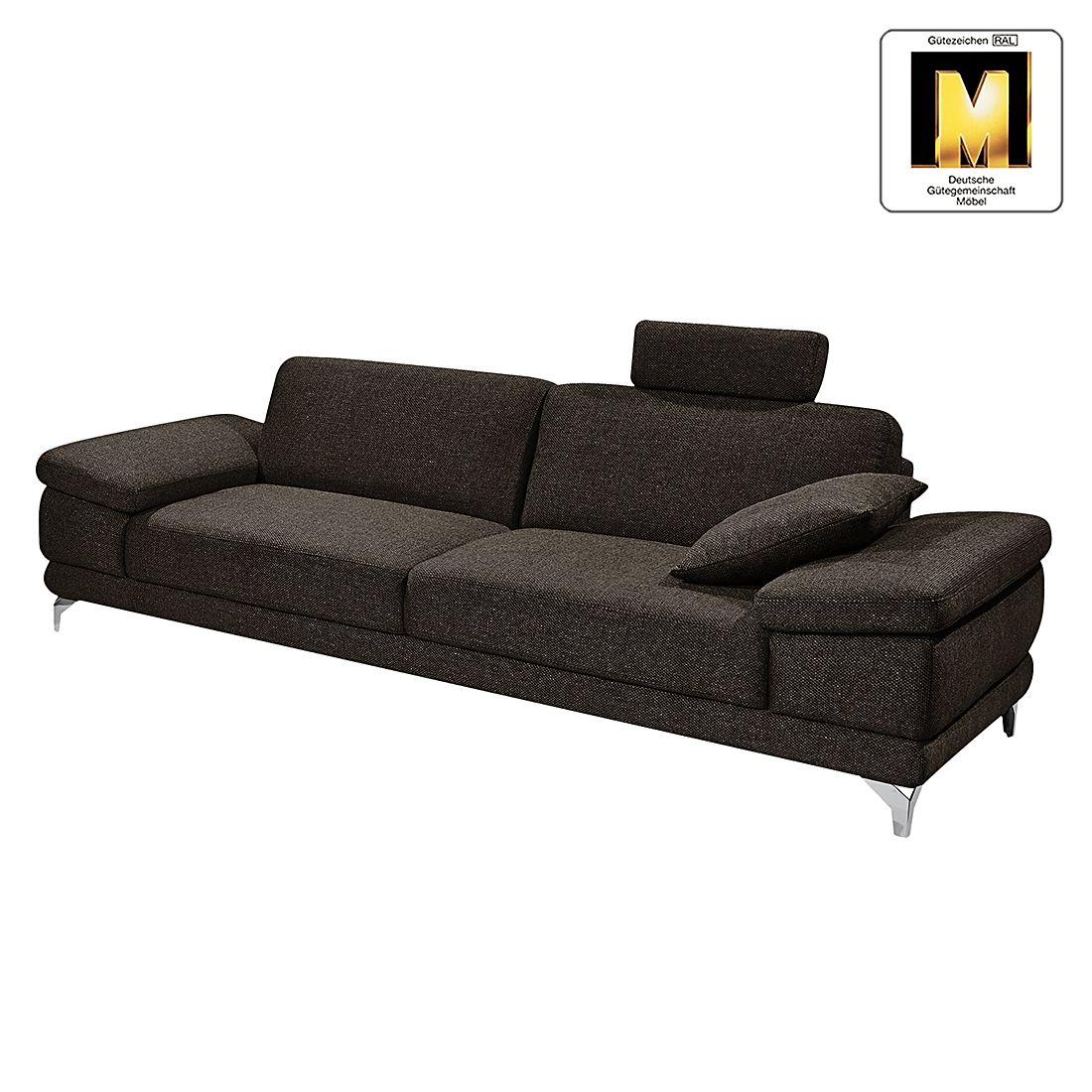 sofa casual line 2 5 sitzer strukturstoff verstellbare armlehnen braun claas claasen. Black Bedroom Furniture Sets. Home Design Ideas