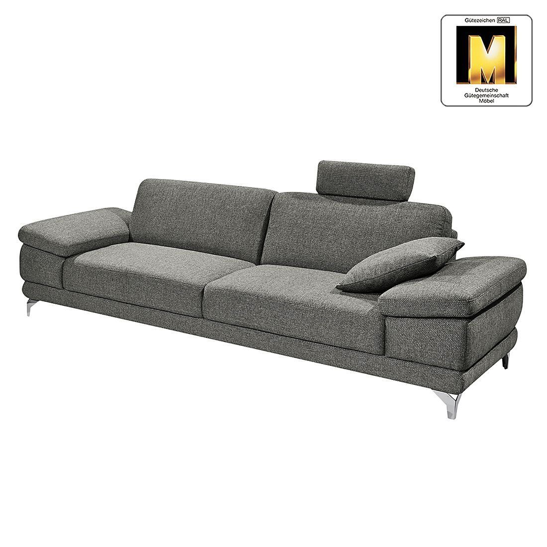 sofa casual line 2 5 sitzer strukturstoff verstellbare armlehnen hellgrau claas claasen. Black Bedroom Furniture Sets. Home Design Ideas