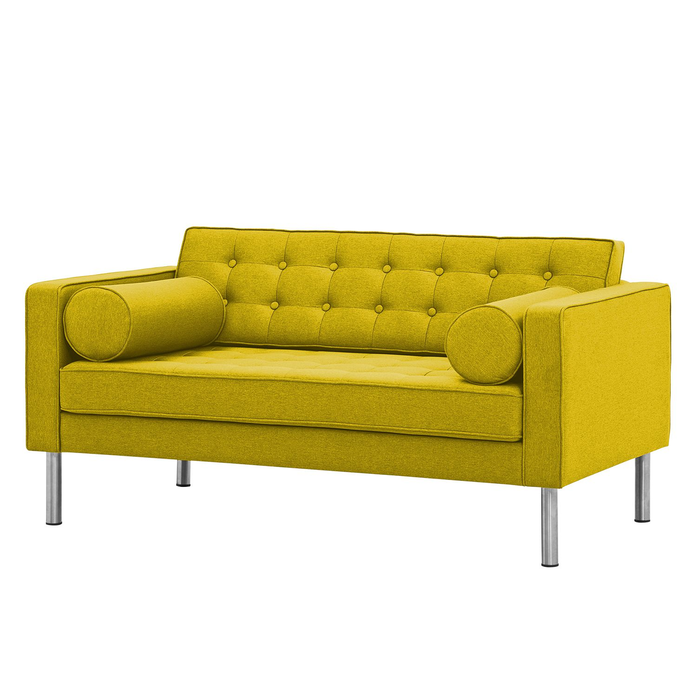 Sofa Chelsea (2-Sitzer) - Webstoff - Runder Fuß - Stoff Milan Gelb, Fredriks