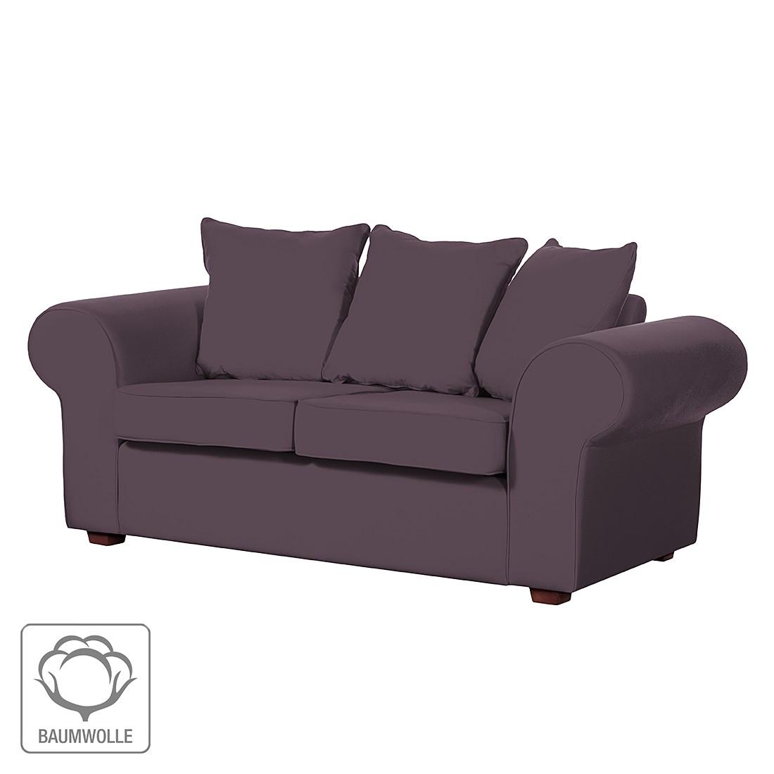 Sofa Colmar (2-Sitzer) – Baumwollstoff Aubergine, Jack & Alice günstig bestellen