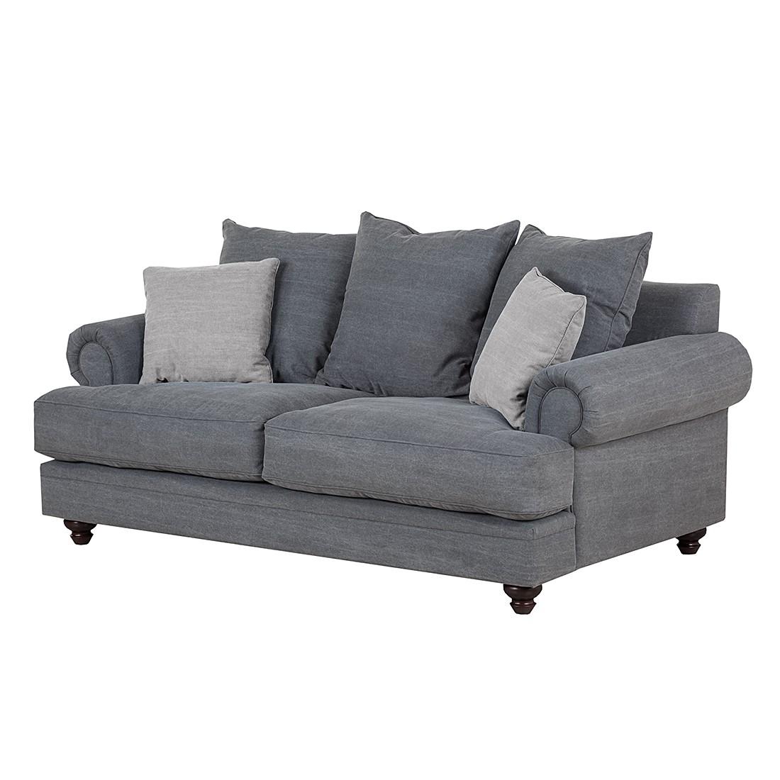 Sofa Davido (2-Sitzer) - Baumwollstoff - Anthrazit, Naturoo