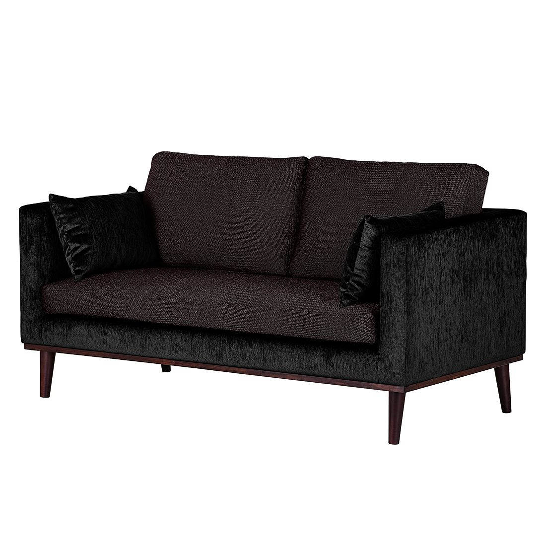 sofa dauphine 2 sitzer webstoff rot samtstoff schwarz maison belfort g nstig kaufen. Black Bedroom Furniture Sets. Home Design Ideas