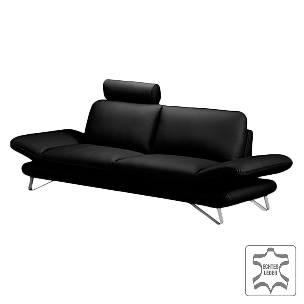 Sofa Enzo (2,5-Sitzer) - Echtleder Schwarz - Mit 1 Kopfstütze, loftscape