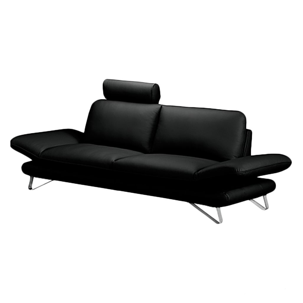 Sofa Enzo (3-Sitzer) - Echtleder Schwarz - Mit 1 Kopfstütze, loftscape
