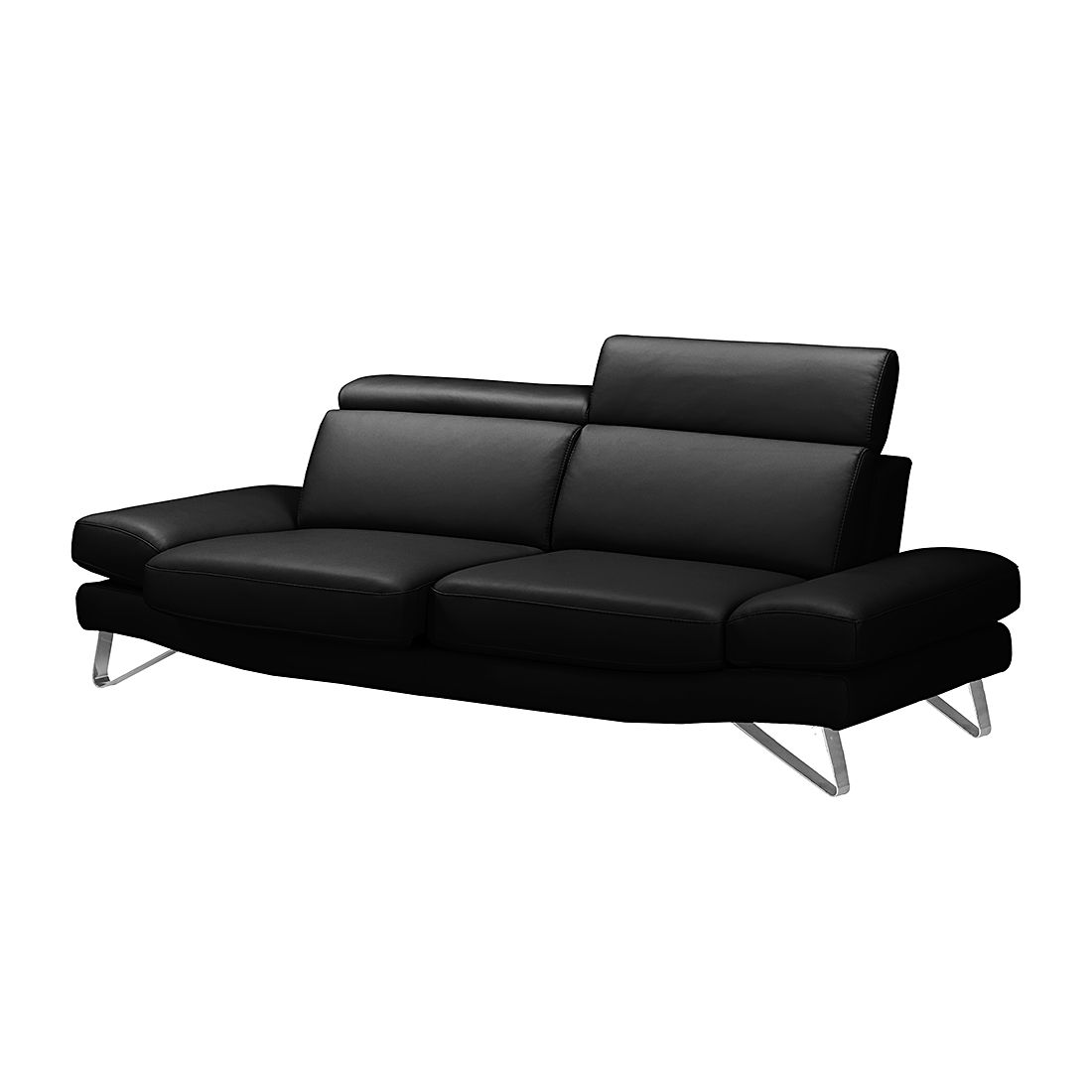 Sofa Finnley (3-Sitzer) - Echtleder - Schwarz, loftscape