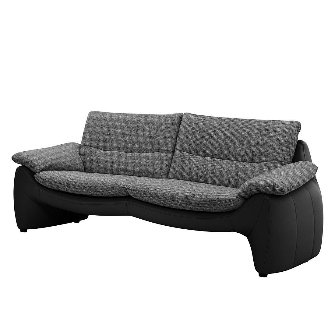 Sofa Giorgio (3-Sitzer) – Kunstleder Schwarz/Strukturstoff Grau – Mit Kopfstütze, Collectione Minetti kaufen