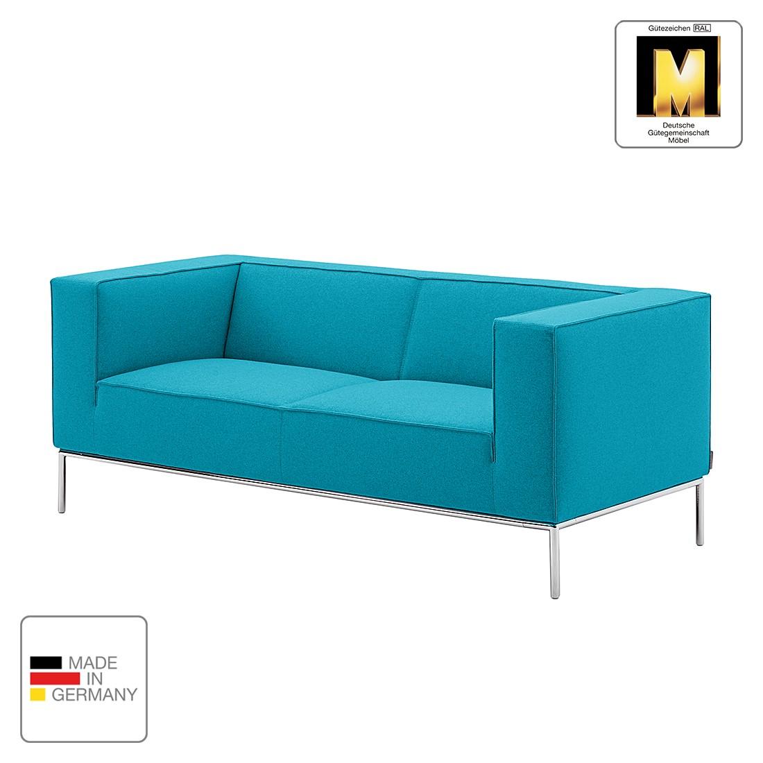 Sofa Greg (2-Sitzer) - Webstoff - Aqua - 1 Kissen, Machalke Polsterwerkstätten