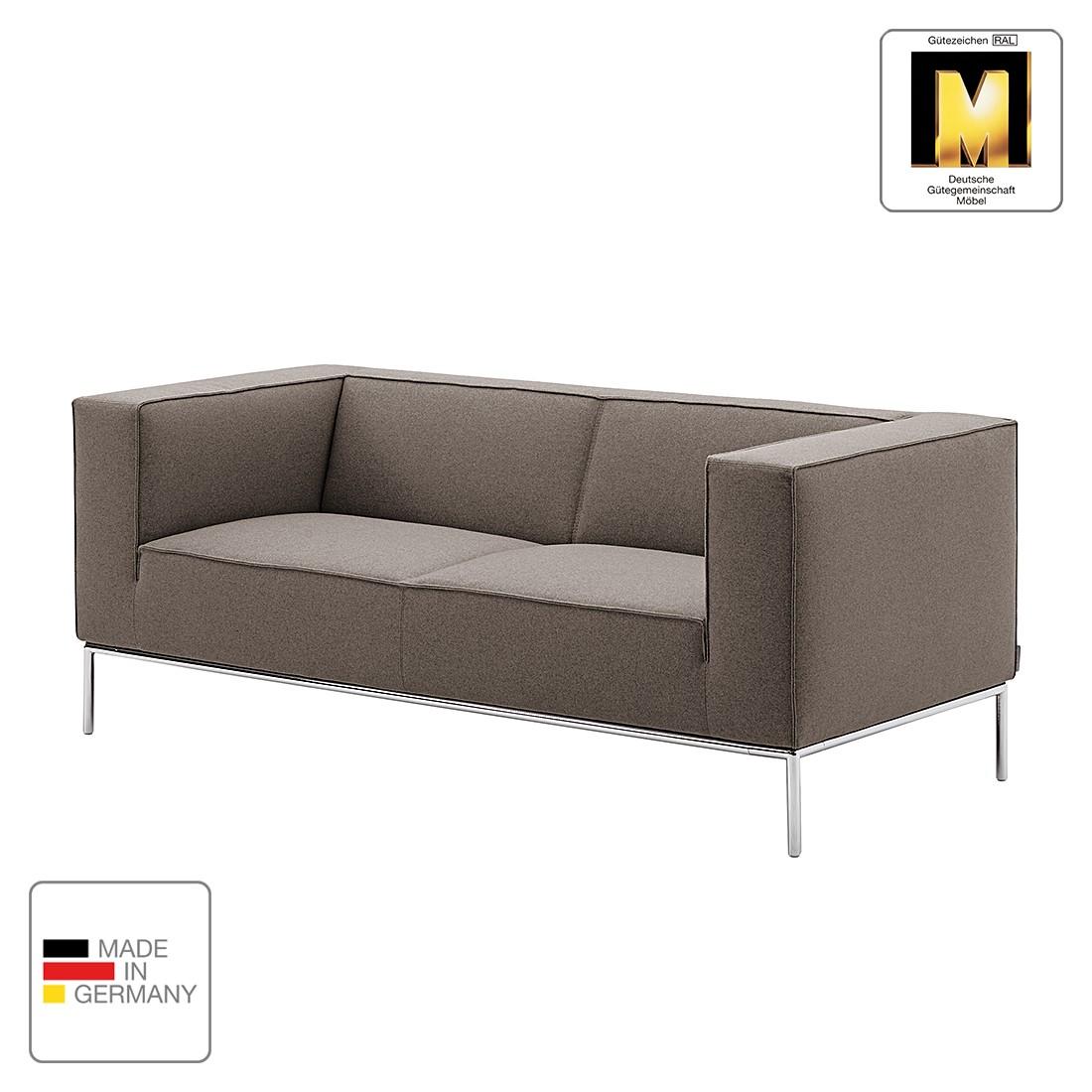 Sofa Greg (2-Sitzer) - Webstoff - Graubraun - 1 Kissen, Machalke Polsterwerkstätten