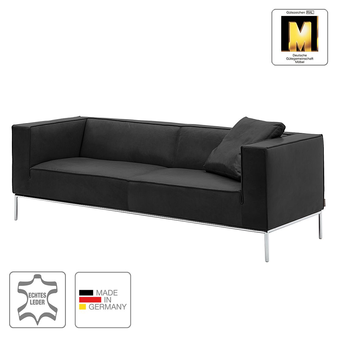 sofa greg 3 sitzer echtleder anthrazit 1 kissen machalke polsterwerkst tten g nstig. Black Bedroom Furniture Sets. Home Design Ideas