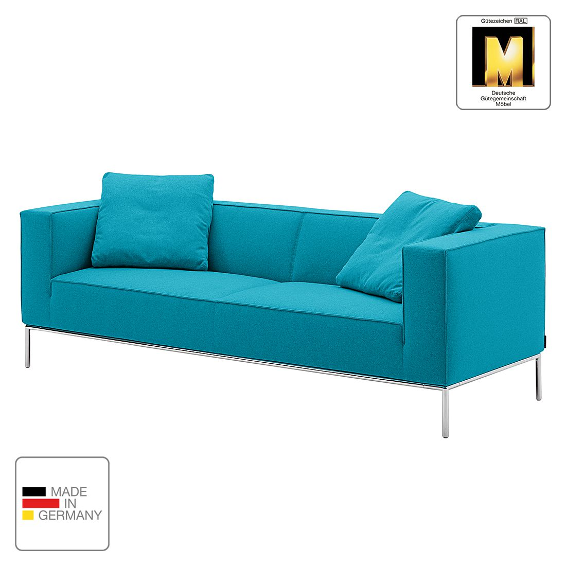 Sofa Greg (3-Sitzer) - Webstoff - Aqua - 2 Kissen, Machalke Polsterwerkstätten