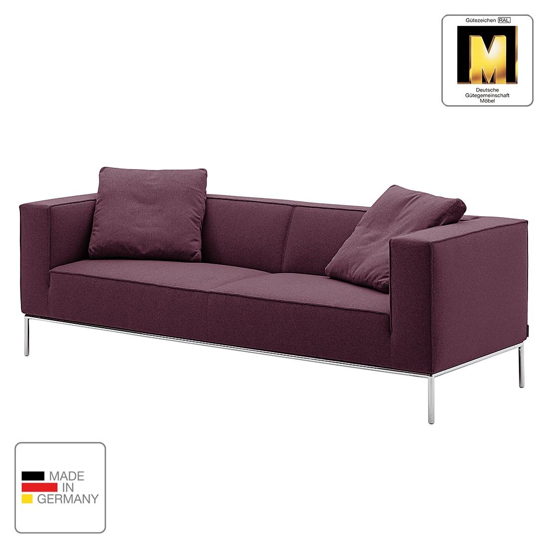 Sofa Greg (3-Sitzer) - Webstoff - Aubergine - 2 Kissen, Machalke Polsterwerkstätten