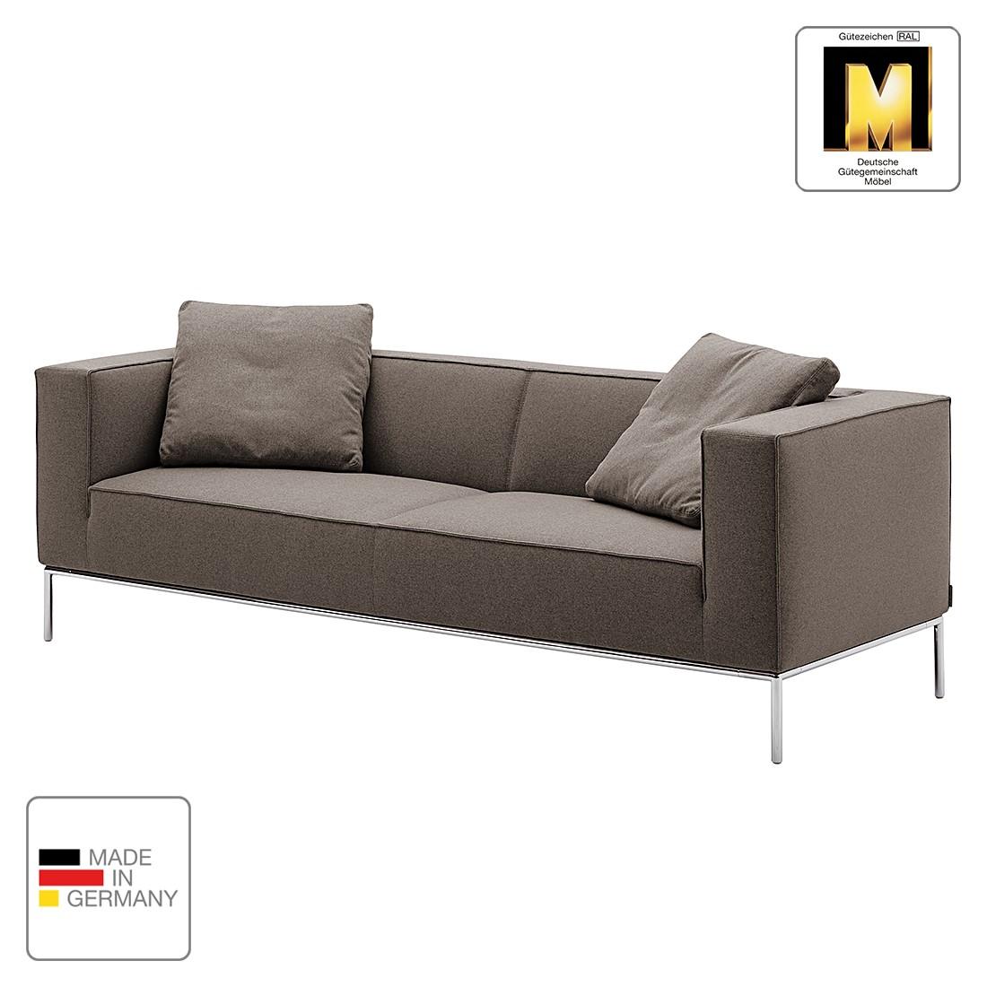 Sofa Greg (3-Sitzer) - Webstoff - Graubraun - Ohne Kissen, Machalke Polsterwerkstätten