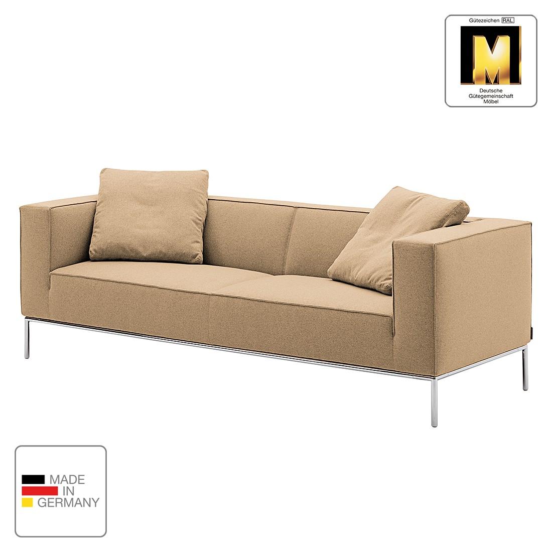 Sofa Greg (3-Sitzer) - Webstoff - Nougat - 2 Kissen, Machalke Polsterwerkstätten