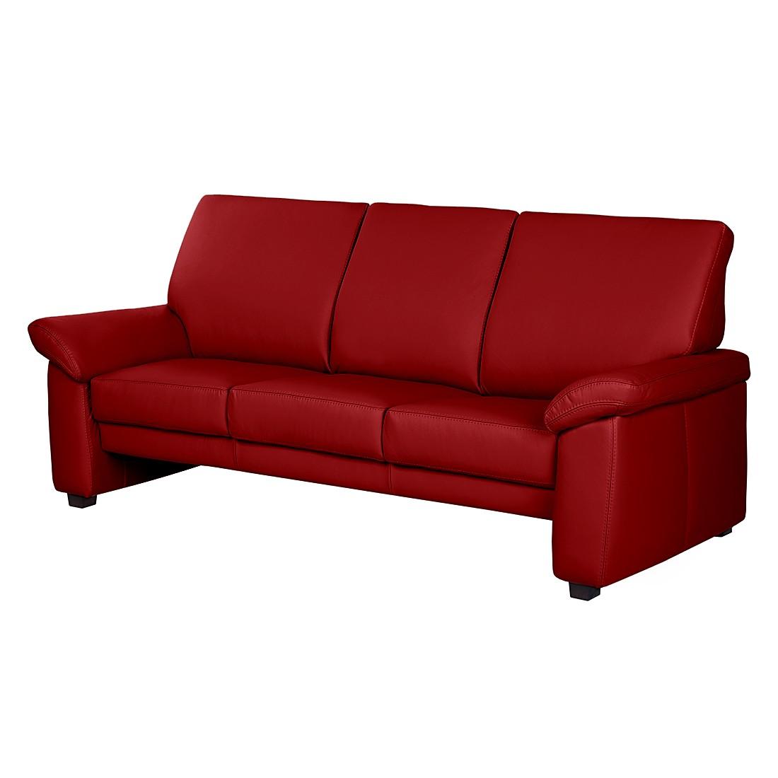 Sofa Grimsby (3-Sitzer) - Echtleder - Rot, Nuovoform