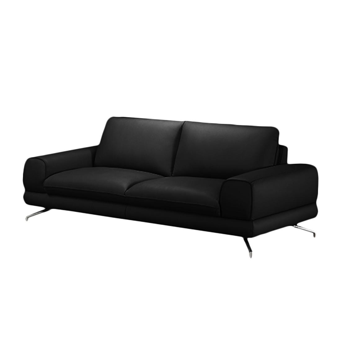 Sofa Lennard (3-Sitzer) - Echtleder - Ohne Kopfstütze - Schwarz, loftscape